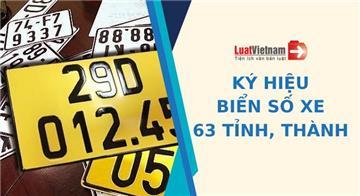 Ký hiệu biển số ô tô, xe máy của 63 tỉnh, thành (mới nhất)
