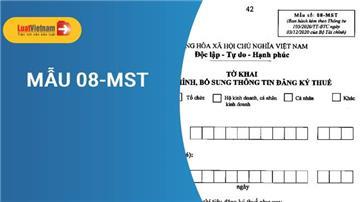 Mẫu 08-MST - Tờ khai điều chỉnh, bổ sung thông tin đăng ký thuế