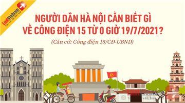 Infographic: Người dân Hà Nội cần biết gì về Công điện 15 từ 0 giờ 19/7/2021?