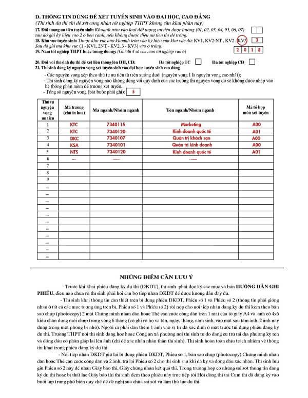 cách ghi phiếu đăng ký dự thi THPT quốc gia 2019 mục D