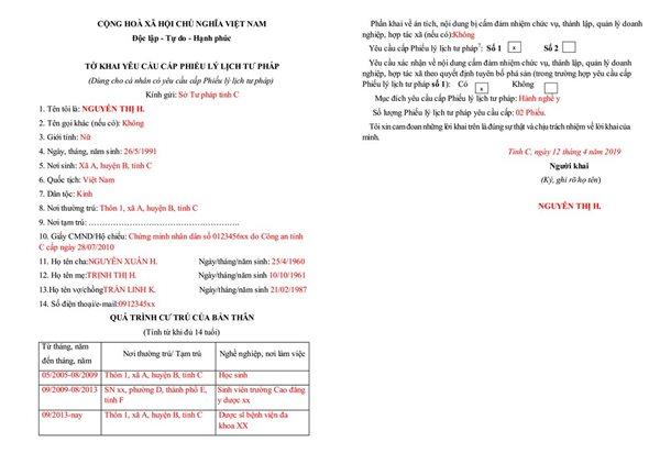 mẫu tờ khai yêu cầu cấp phiếu lý lịch tư pháp