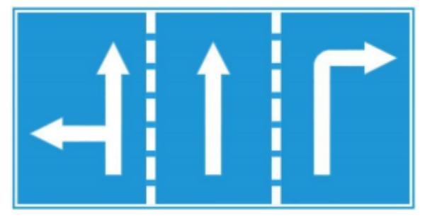 biển R.411 Hướng đi trên mỗi làn đường phải theo