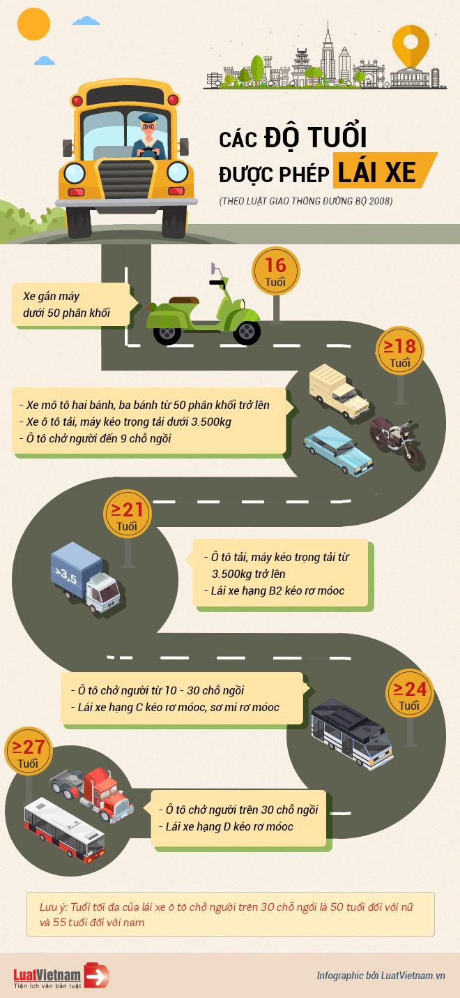 Infographic: Các độ tuổi được phép lái xe