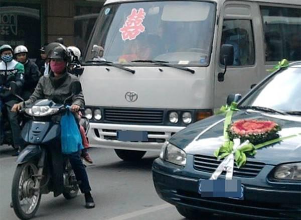dùng xe công đi dự đám cưới