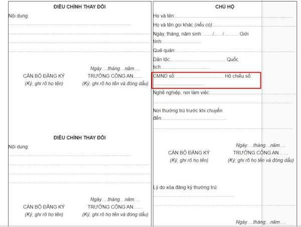 mẫu sổ hộ khẩu hk08 theo Thông tư 81/2011/TT-BCA