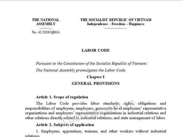 bản dịch Bộ luật Lao động 2019