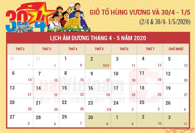 Lịch nghỉ ngày Giỗ tổ Hùng Vương, 30/4, 01/5 năm 2020