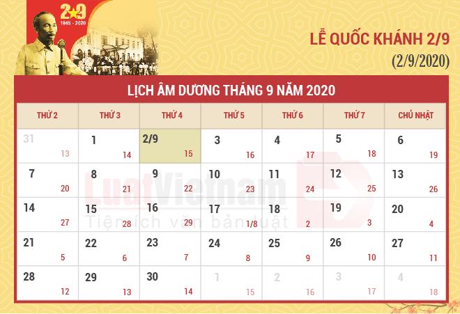 Lịch nghỉ ngày Quốc khánh năm 2020