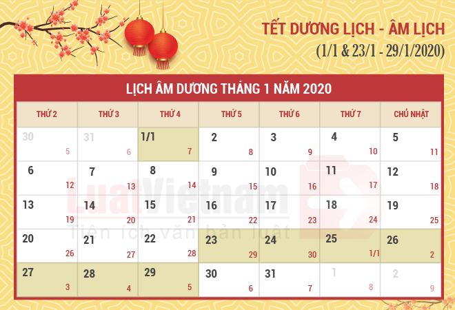 Lịch nghỉ Tết Dương lịch, Âm lịch năm 2020