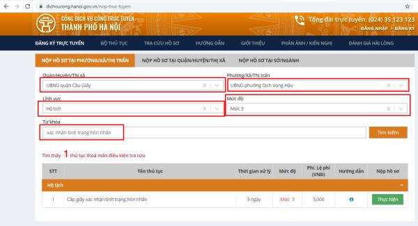 bước 3 thủ tục xin xác nhận tình trạng hôn nhân online tại Hà Nội