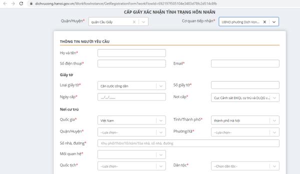 bước 4 thủ tục xin xác nhận tình trạng hôn nhân online tại Hà Nội