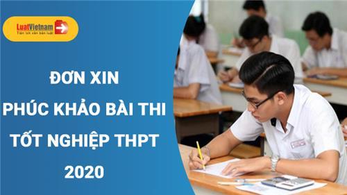 Mẫu Đơn xin phúc khảo bài thi tốt nghiệp THPT 2020