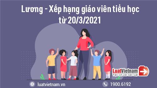 Lương và tiêu chuẩn xếp hạng giáo viên tiểu học từ 20/3/2021
